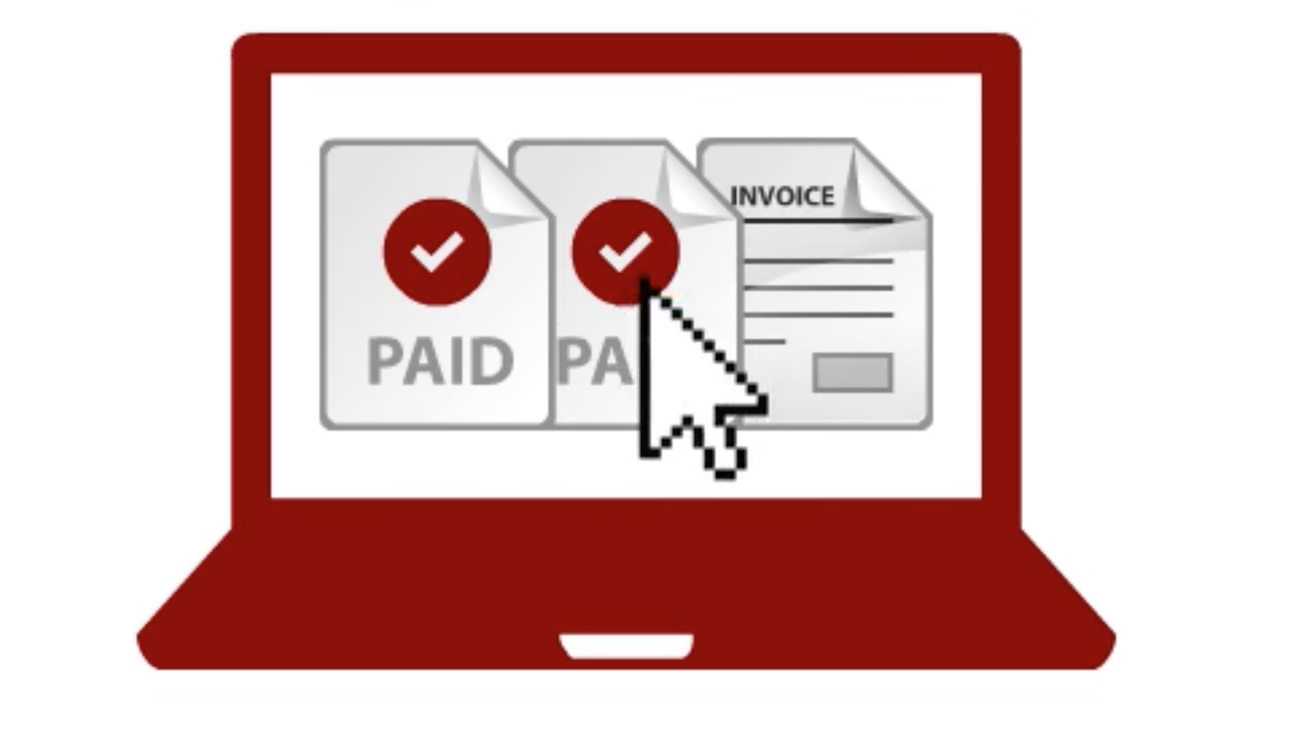 laptop with paid invoices icon
